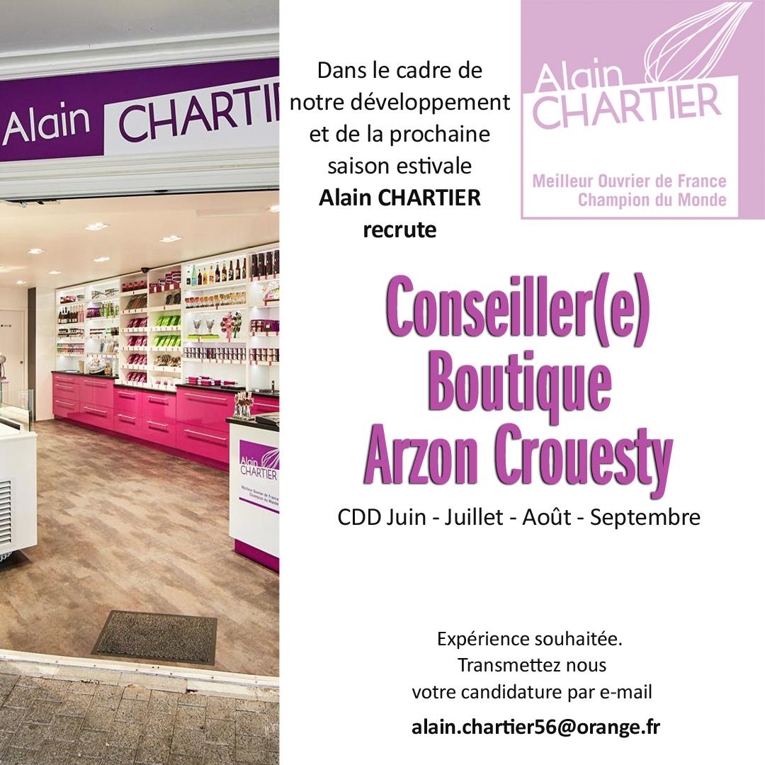 Recrutement CDD Arzon boutique conseiller Mai 2021
