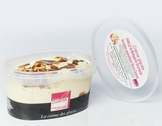 Crème glacée Vanille de Madagascar, Caramel Coulant, Noisettes