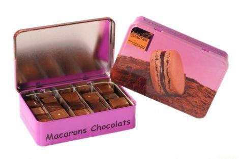 Coffret chocolats boîte métal chocolat noir et lait