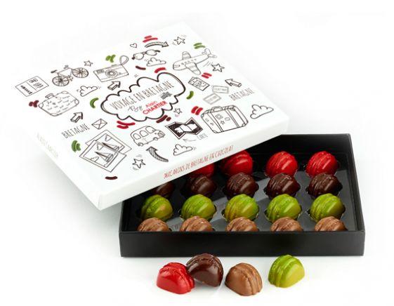 Coffret de 20 macarons de Bretagne en chocolat