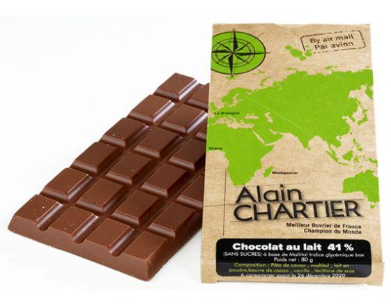 Tablettes en chocolat au lait Sans Sucre 41 %