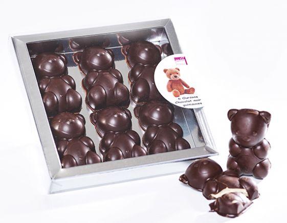 Coffret 6 Oursons Guimauve vanille chocolat noir
