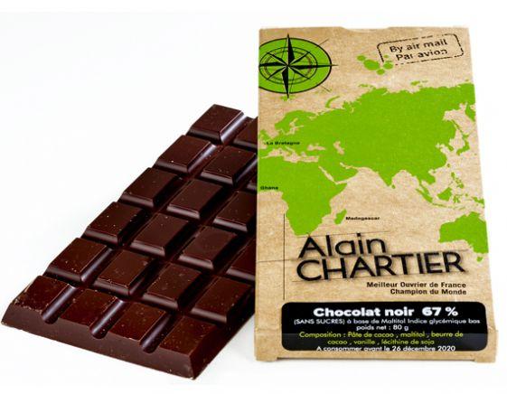 Tablette chocolat noir 67% sans sucre
